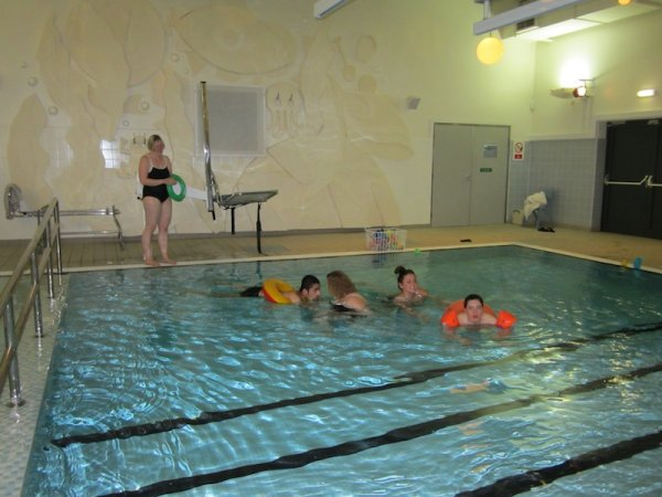Students in swimming pool
