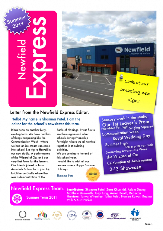 Newfield Newsletter Summer 2011