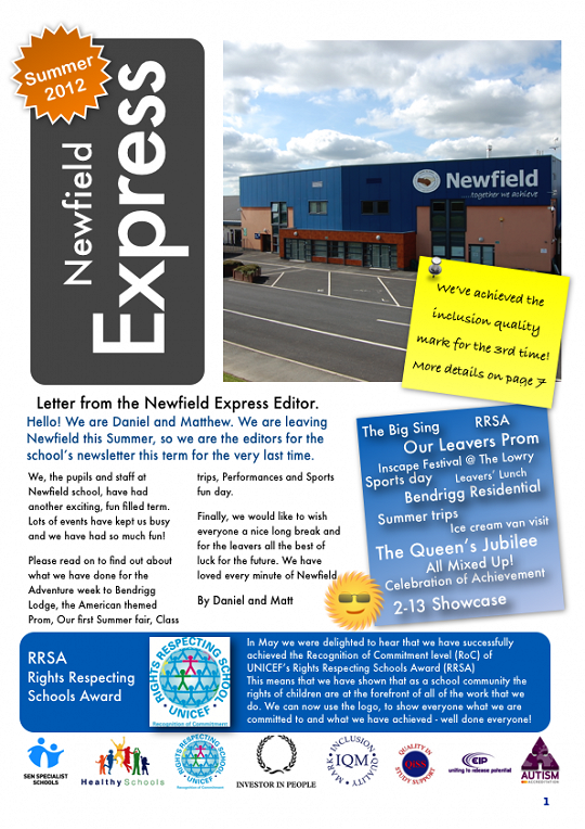 Newfield Newsletter Summer 2012